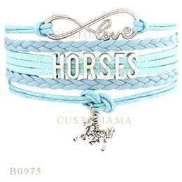 Wholesale Love Infinity Bracelet Silver - Custom-Infinity Love Horses Horse Charm Wrap Bracelets Christmas Gifts Brown Black White Bracelets Leather Custom Women Bracelets