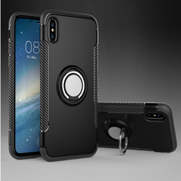 Wholesale Shock Proof Cases - Hybrid TPU+PC 2-in-1 Armor Case Shock-Proof Cases 360 Ring Stand Holder Magnetic Back Cover For iPhone X 8 6 6S 7 7Plus Samsung S8 S7 Edge