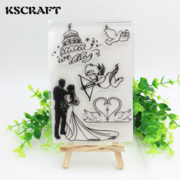 Wholesale Scrapbooking Sheets - Wholesale- KSCRAFT Wedding Transparent Clear Silicone Stamp Seal for DIY scrapbooking photo album Decorative clear stamp sheets