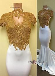 Wholesale Sexy Gorgeous Evening Dress Cheap - Gorgeous Cap Sleeve Gold Appliques White Mermaid Prom Dress 2017 Prom Dresses Prom Dresses Special Occasion Dresses Cheap Evening Dress