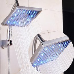 Wholesale Bathroom Over Head - Good Quality 8'' LEDShower Pipe Top-over Rainfall Shower Head Shower Arm Hose A Full Set Bathroom Accessory with ABS Shower Head