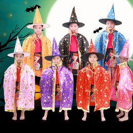 Wholesale Wholesale Christmas Present - Halloween Hallowmas Adult Children Kids Witch Enchanter Stars Cloaks Capes Cosplay Costumes Christmas Clothing Gift Present