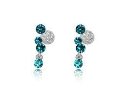 Wholesale Made Swarovski Elements Earrings - 2017 Fahion Simple Earrings, Women Joy Minnie Crystal Earrings Platimun Plated Make With Swarovski Elements FREE SHIPPING 3 Colors