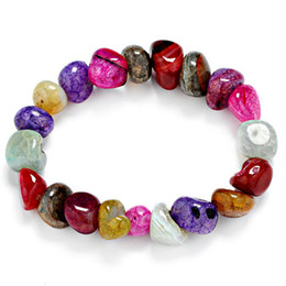 Wholesale Natural Hot Stones - Hot Sale Lovely Amethyst Jasper Agate Bracelets Random Irregular 7 Chakra Healing Crystals Natural Stone Chips Single Strand Women Bracelets