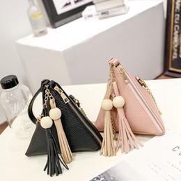 Wholesale Girls Mini Handbags - 2017 spring new triangular women designer handbags Korean version tassel female makeup fashion chain oblique girls mini cross body bags