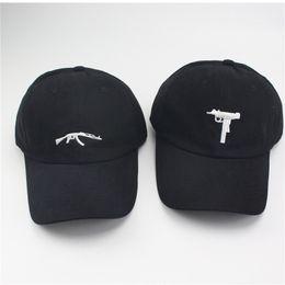Wholesale Embroidered Cap Men Baseball - UZI Gun Baseball Caps Ak47 Snapback Hip Hop Dad Hat Cap Women Men Brand Sports Bones High Sun Snapback