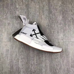 Wholesale Zip Socks - With Box OFF White NMD City Sock MID Shoes 10X Virgil Abloh Real Boost Sneaker OW Black White Zip BA7208 Urban Nomad EUR40-45
