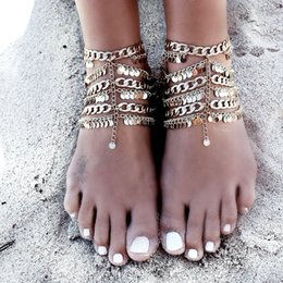 Wholesale Cycle Chain Bracelet - 1PC Summer Style Boho Gold Plated Totem Coin Pendant Toe Cycle Multi Layer Chain Link Anklets Bracelet Foot Jewelry For Women