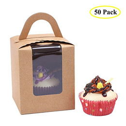 Wholesale Clear Single Cupcake Boxes Wholesale - 50pcs lot Clear Bakery Pastry Brown Kraft Paper Single Cupcake Boxes With Window And Handle. 9.3x9.3x11cm