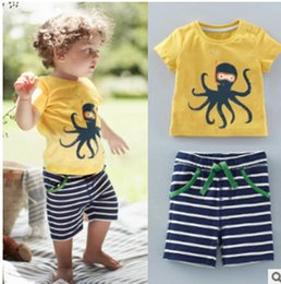 Wholesale Wholesale Sport Patches - Summer Children Cartoon Outfits Baby Kids Short Sleeve Cute Cuttlefish printing patched T Shirts+printing Sport Casual Pants Sets Boys Suits