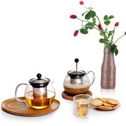 Wholesale Glass Teapot Double - 700ml Borosilicate Glass CLear Teapot Tea Set Double wall Cups Teacup Herb Tea flower tea Coffee tools 304Stainless steel filter
