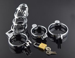 Wholesale Cock Lock Sex Bondage Toy - Newest Desige Male Chastity Device Stainless steel Cock Cage Metal Penis Lock bondage Cook ring Sex Toys