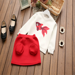 Wholesale Shirts Fish Prints - 2017 new girl's outfits golden fish printed t-shirt+red skirts 2pcs baby girl clothing set kids girl's suit wholesale top quality zj17-7