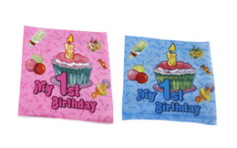 Wholesale Tissue Paper For Packing - Wholesale- 20pcs pack 33*33cm Lovely Cute My 1st Birthday Paper Napkin for Girl Festive & Para Festas Tissue Decoration