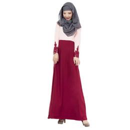 Wholesale Islamic Clothing Women Wholesale - Hot Muslim prayer service high quality Arab Women Robes Long Sleeves Islamic red Ethnic Clothing free shipping