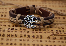 Wholesale Free Wristbands - Hot Sale Coffee Cow Leather Bracelet Cool Lucky Tree Wishing Charm Bracelet Wristband Jewelry Holiday Gift for Men and Women Free Shipping