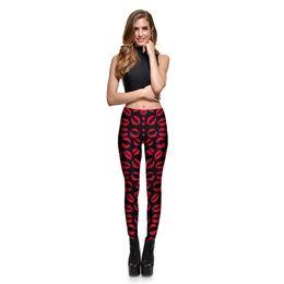 Wholesale Plus Size Patterned Leggings - Women's Digital Printing Red Lips Pattern Leggings Pants Ladies Print Plus Size Fashion Slim Elastic Pencil Trousers For Women