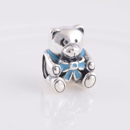 Wholesale European Beads Bear - 100% S925 Sterling Silver Baby Boy Teddy Bear Charm Bead with Blue Enamel Fits European Style Jewelry Bracelets Necklaces & Pendant