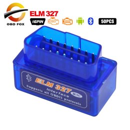Wholesale Usb Elm 327 For Android - 50pcs lot Super mini ELM327 OBD2   OBD II Auto Car Scanner OBDII Bluetooth ELM 327 OBD 2 Car Scan Tool Works On Android