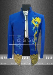 Wholesale Married Dress Man - Wholesale- Show men's clothing pratensis chinese style wedding the groom married long-sleeve tang suit chinese tunic suit formal dress show