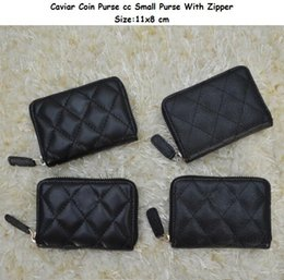 Wholesale Korean Lace Dresses - 69271 Women Genuine Leather Lambskin Leather & Caviar Coin Purse Small Purse With Zipper Designer Card & ID Holders