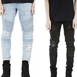 Wholesale Cheap Light Blue Skinny Jeans - Wholesale-Cheap HIp hop biker jeans for men Mens Skinny ripped biker jeans pants light blue and black 2 colors size 28-38 m73