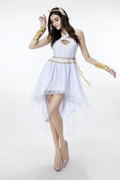 Wholesale Greek Costume Women - 2017 New Arrival Adult Women Greek Goddess Dress White Sexy Cosplay Halloween Costumes Stage Performance Clothing Hot Selling