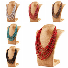 Wholesale Gray Statement Necklace - Mix 6 ColorS New Handmade Bohemia Fashion multilayer Resin Seed Beads Chain Choker Bib Necklace statement necklace Jewelry