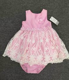 Wholesale Summer Infant Tutu Baby Dress - Baby Girl Dresses Princess Lace Floral Pink Tutu Dress+Underwear 2pcs Sets 3-24M Infant Sleeveless Skirt Children Clothing