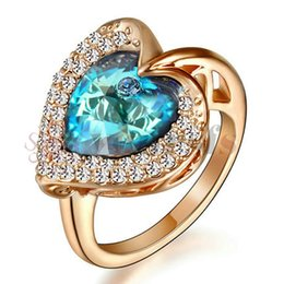 Wholesale Fire Stone Crystal - Yoursfs Charming Heart Shape Blue Fire zircon Rings For Women Wedding Band Vintage Filled AAA Zircon Ring
