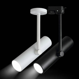 Wholesale Dimmable Cob Led Track Light - dimmable COB 10W 12W 15W AC110V 230V 240V track spotlight LED rail spot light lamp COB 20W LED track light