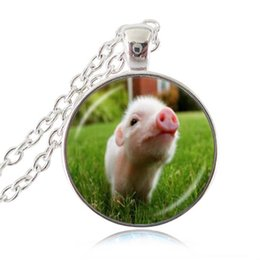 Wholesale gemstone animal pendants - Cute Little Baby Pig Necklace Piggy Pendant Animal Jewelry Glass Cabochon Time Gemstone Necklace Long Chain Statement Necklace