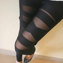 Wholesale Slash Leggings - Wholesale- 2016 New Ripped Torn Cut-out Slash Sexy Pants Female Fitness sportwear Leggings Femininos Slim Elastic Pants Women Leggins Mujer