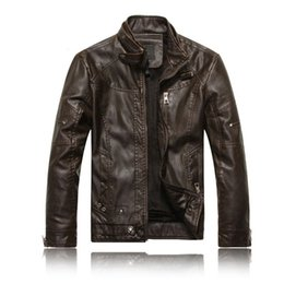 Wholesale Mandarin Collar Leather Jacket - Wholesale- Men Motorcycle Leather jackets 2016 New Fashion Brand Men's Autumn Winter Fleece Leather jacket Jaqueta De Couro Masculina M-3XL