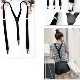 Wholesale Mens Braces Heavy Duty - Wholesale-DSGS 2016 Hot Style Adjustable Plain Black Braces Suspenders Heavy Duty Unisex Mens Ladies 1.5cm