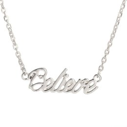 Wholesale Believe Letters - Gold Silver Plated Tiny Stamped Believe Letters Necklace Simple Good Luck Necklaces for Friends free shipping