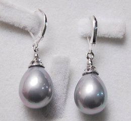 Wholesale South Sea Dangle Pearl Earrings - 12X16MM Grey South Sea Shell Pearl Drop Earrings AAA+