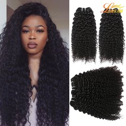 Wholesale High Curly Hair - Indian Kinky Curly Virgin Hair Extension Wholesale Price Deep Curly Human Hair Weft High Quality Curly Weave Natural Color Can Be Dyed