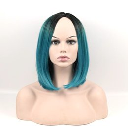 Wholesale Natural Blue Sapphires - 15Inch Fashion Sexy Medium Long Natural Straight Central Parting Full Wig Womens Wigs Girl Gift Black Sapphire blue Ombre Wigs