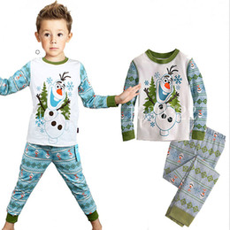 Wholesale Pajama Years - Wholesale- Kids Pajama Sets Boys Sleepwear 2-7 Years Girls pajamas Suit Children pyjama T-shirt + Pants Baby Girl Boy Clothing Set Snowman
