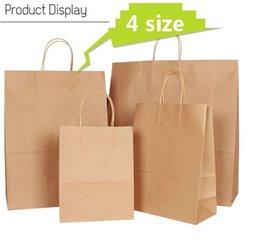 Wholesale Wedding Kraft Bags - 10PCS lot kraft paper bag with handle   wedding party bag  Fashionable cloth shoes gift paper bags   4size Multifunction