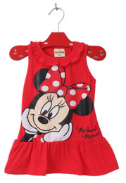 Wholesale American Girl School - 2017 Cute Baby Girl Minnie Mouse Dress Pink Red 2Colors Clothing High Quality Summer Sleeveless Ruffle Clothe 0-5T Kindergarten School Dress