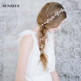 Wholesale Headband Chains - Long Hair Chain Hand-made Pearls Bridal Hair Accessories 1M Headband Wedding Hair Sash Accesorios para el pelo de boda Headpieces