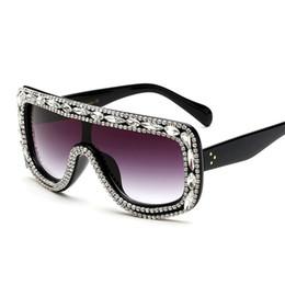 Wholesale Ladies Rimless Polarized Sunglasses - 2017 New Fashion Sunglasses Brand Woman Bling Rhinestone Oversized Sunglasses Vintage Shades Ladies Big Sun Glasses Gafas mujer 170823