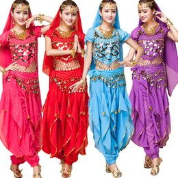 Wholesale Chinese Folk Dancing Costumes - Girls Bollywood Dance Costumes Indian Belly Dance Costumes chinese folk dance Pants And Top 4pieces Bra Set For Women