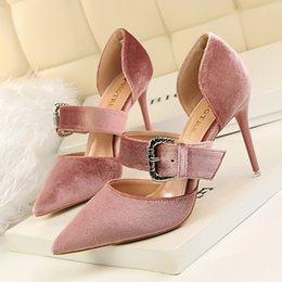 Wholesale Nude Cotton Fabric - Woman Shoes Metal Buckle Pump High Heels Sandals Pointed Toe Shallow Sildes Slip on Red Gray Black Pink Claret Nude