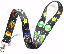 Wholesale Mario Bros Lanyard - 10 Pcs Super Mario Bros Mobile Phone Necklace Strap Lanyards ID Card Hold