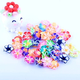Wholesale Polymer Clay Flowers For Jewelry - New Fashion hot 100pcs lot Mixed Colorful Polymer Clay Beads Flower 15mm For Jewelry fiindings Making DIY