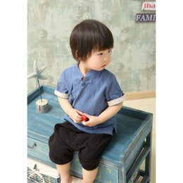 Wholesale Traditional Costumes For Halloween - free shipping 2017summer Chinese traditional Tang costume for kids Chinese retro Tang clothing soft liene t-shirt with long short sleeves