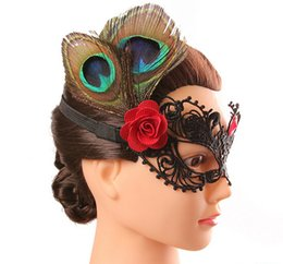 Wholesale Lady Peacock Mask - Design Sexy Black Lace Peacock Feather Masquerade Wedding Cosplay Mask Xmas Venetian Party Masks Fashion Half Face Mask for Women Ladies
